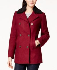 Tommy Hilfiger Faux Fur Collar Peacoat