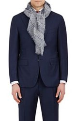 Barneys New York Men's Geometric Print Scarf Blue