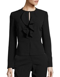Nipon Boutique Ruffled Peplum Jacket Black