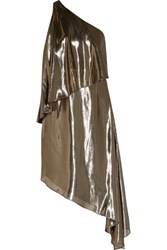 Halston Heritage Asymmetric One Shoulder Silk Blend Lame Dress Gold
