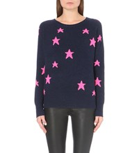 360 Cashmere Hollywood Star Print Cashmere Jumper Ink Dayglo