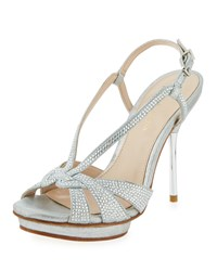 Pelle Moda Perry Crystal Suede Slingback Sandal Silver
