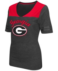 Colosseum Women's Georgia Bulldogs Twist V Neck T Shirt Charcoal Red