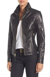 Michael Michael Kors Petite Women's Front Zip Leather Jacket Black