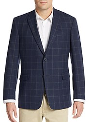 Tommy Hilfiger Regular Fit Windowpane Check Jacket Navy