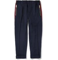 Alexander Mcqueen Leather Trimmed Cuffed Crepe Trousers Blue