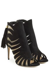 Paul Andrew Suede And Mesh Sandals With Cut Out Detail Black