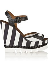 Dolce And Gabbana Striped Leather And Brocade Wedge Sandals Black