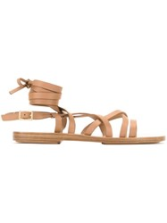 Scanlan Theodore Ankle Wrap Gladiator Sandals Brown