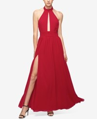 Fame And Partners Keyhole Halter Dress With Front Slit Cherry Red