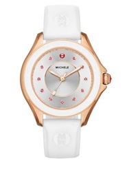 Michele Cape Pink Topaz Rose Goldtone Ip Stainless Steel And Silicone Strap Watch Rose Gold White