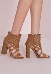 Missguided Woven Ankle Cuff Heeled Sandals Tan Brown