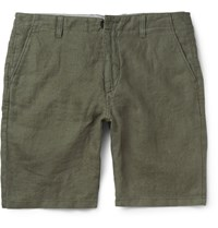 Nn.07 Simon Linen Shorts Green