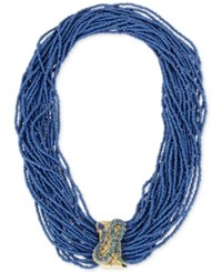 Betsey Johnson Gold Tone Blue Multi Bead Pave Snake Accent Statement Necklace