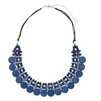 One Button Medium Wooden Disc Bead Necklace Blue Purple