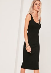 Missguided Basic Rib Cami Midi Dress Black