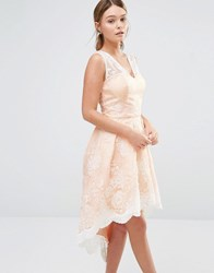 Chi Chi London High Low Prom Dress In Embroidered Lace Nude Cream Pink