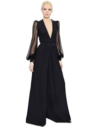 Alexander Mcqueen Wide Leg Leaf Crepe And Crepon Jumpsuit