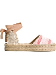 Manebi Manebi Cut Out Heel Ankle Lace Espadrilles Pink And Purple