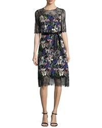 Rickie Freeman For Teri Jon Short Sleeve Embroidered Butterfly Cocktail Dress