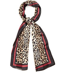 Cc Leopard Border Satin Stripe Scarf