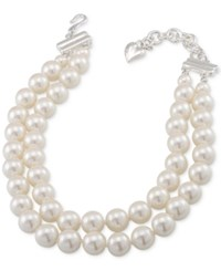 Carolee Silver Tone Imitation Pearl Adjustable Choker Necklace