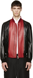 Alexander Mcqueen Black And Red Leather Bomber Jacket