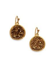 Nest Pyrite Druzy Round Drop Earrings Gold