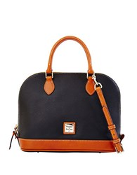 Dooney And Bourke Zip Zip Pebbled Leather Satchel Black