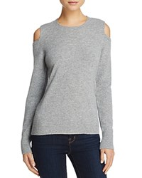 Minnie Rose Cold Shoulder Cashmere Sweater Silver Grey