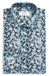 Eton Men's Big And Tall Slim Fit Splatter Print Dress Shirt Blue Multi