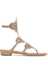 Rene Caovilla Embellished Leather And Satin Sandals Gold