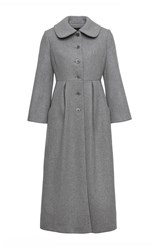 Ulyana Sergeenko Long Pleated Wool Coat Light Grey