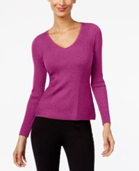 Inc International Concepts Ribbed V Neck Sweater Only At Macy's Berry Ice
