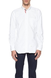 Thom Browne Classic Button Down With Ribbon Placket In White