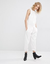 Mango Tailored Belted Jumpsuit White