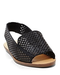 Dolce Vita Open Toe Perforated Slingback Flat Sandals Lisco Black