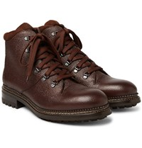 O'keeffe Austin Shearling Lined Weatherproof Pebble Grain Leather Boots Chocolate