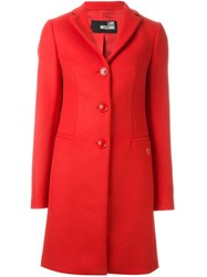 Love Moschino Heart Plaque Detail Coat Red