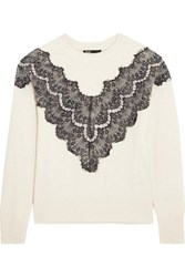 Maje Malto Lace Paneled Knitted Sweater Cream