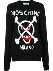 Moschino Skull Logo Jumper Black