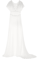 Temperley London Willow Floral Appliqua D Embellished Silk Gown