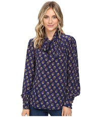 Nanette Lepore Paisley Bow Blouse Plum Multi Women's Blouse