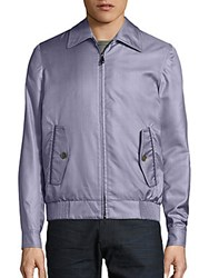 Brioni Tonal Plaid Silk Bomber Jacket Purple