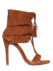 Steve Madden 100Mm Fringed Lace Up Suede Sandals