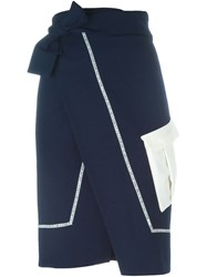 Each X Other Wrap Style Pencil Skirt Blue