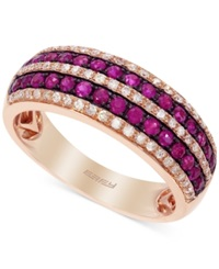 Effy Collection Amore By Effy Ruby 3 8 Ct. T.W. And Diamond 1 4 Ct. T.W. Pave Band In 14K Rose Gold
