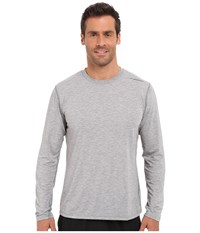 Brooks Distance Long Sleeve Top Heather Oxford Men's Long Sleeve Pullover Gray
