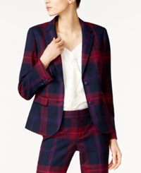 Tommy Hilfiger Plaid Blazer Only At Macy's Pinot Noir