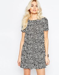 Daisy Street Shift Dress With Frill Hem In Mono Animal Print Black
